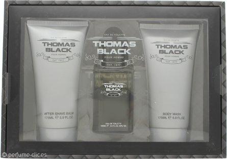 Laurelle Thomas Black Set de Regalo 100ml EDT Vaporizador + 175ml Gel Corporal + 175ml Bálsamo Aftershave