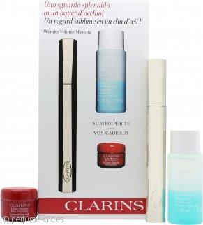 Clarins Wonder Set de Regalo 7ml Rímel Volumen + 30ml Desmaquillante Ojos + 4ml Base Maquillaje Suavidad Instantánea Toque Perfecto