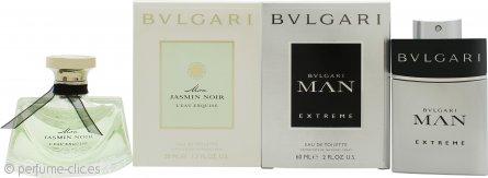 Bvlgari The Duo for Him and Her Set de Regalo 50ml EDT Mon Jasmin Noir L'Eau Exquise + 60ml EDT Man Extreme