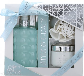 Style & Grace Puro Bathroom Retreat Set de Regalo 500ml Crema de Baño + 170ml Manteca Corporal + Flor de Ducha
