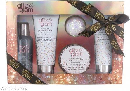 Style & Grace Glitz & Glam Pamper Me Gorgeous Set de regalo 60ml Hidratante Corporal + 120ml Gel de baño + 110ml Gel para cuerpo + 110ml Crema Corporal + 50g Champú