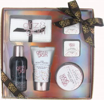 Style & Grace Glitz & Glam Sparkly Does It! Set de Regalo 80ml Gel Corporal + 60ml Manteca Corporal + 120ml Exfoliante Corporal + 2 x 35g Bombas Baño + Toalla Facial