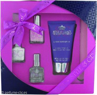 Style & Grace Mani Care Essentials Set de Regalo 70ml Loción Manos + 8ml Capa Alta + 2 x 8ml Esmalte de Uñas + Lima