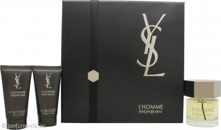 Yves Saint Laurent L'Homme Set de Regalo 60ml EDT + 50ml Bálsamo After Shave + 50ml Gel Ducha Total