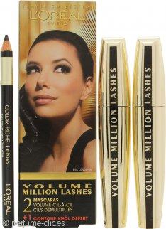 L'Oreal Volume Million Lashes Gift Set 2 x 9ml Rímel Black + Contour Khol Eyeliner Black