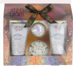 Style & Grace Glitz & Glam Set de Regalo Brillante 110ml Glorious Gel de baño + 110ml Luxurious Gel de baño + Sparkling Champú de baño + Flor para la Ducha