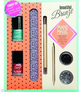 Sunkissed Beautiful Bronze Mani Magic Set de Regalo 2 x 8ml Pintauñas + 5g Joyas para uñas + Lima para uñas + Cortador de cutículas + Dotting Tool