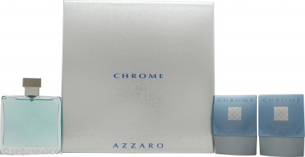 Azzaro Chrome Set de Regalo 100ml EDT + 75ml Bálsamo Aftershave + 75ml Champú Total