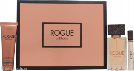 Rihanna Rogue Set de Regalo 125ml EDP + 90ml Loción Corporal + 6ml Rollerball