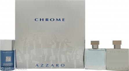 Azzaro Chrome Set de Regalo 50ml EDT + 50ml Loción Aftershave + 75ml Desodorante en Barra