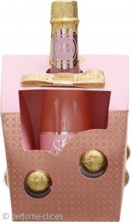 Style + Grace Utopia Champagne Bubbles Set de Regalo 250ml Crema de baño Estilo Botella de Champagne + 6 Perlas Champán