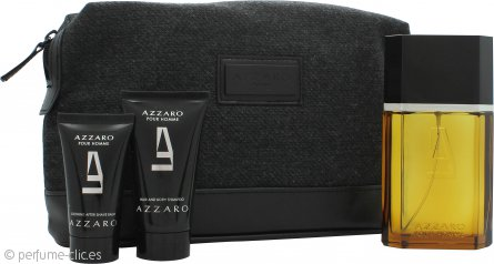 Azzaro Pour Homme Set de Regalo 100ml EDT + 50ml Champú Corporal y de Cabello + 30ml Bálsamo Aftershave + Bolsa