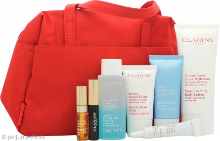 Clarins 7 Meraviglie di Bellezza Set 100ml Loción Corporal Hidratante + 15ml Bálsamo Beauty Flash + 30 Hydra Quench Crema + 50ml Desmaquillante Ojos + 10ml Gel Ojos + 3ml Wonder Perfect Rímel + 2.8ml Eye Comfort Gel + Bolsa