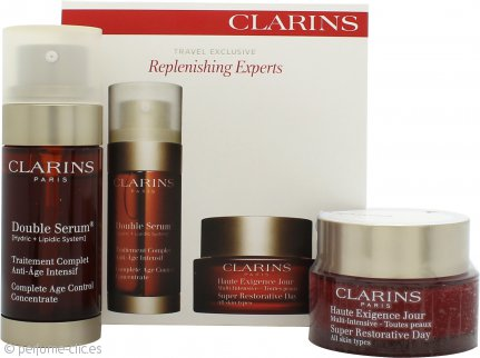 Clarins Replenishing Experts Gift Set 50ml Super Restorative Crema de Día + 30ml Double Serum Control Edad