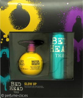 Tigi Bed Head Glow Up Set de Regalo 240ml Motor Mouth Mega Voluminizador + 340ml Masterpiece Spray de pelo Brillo Masivo