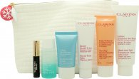 Clarins Relaxing Weekend Partners Set Regalo 50ml Bálsamo Beauty Flash + 100ml Crema Manos&Uñas + 50ml One-Step Gentle Limpiador Exfoliante + 15ml Crema Hydra Quench + 30ml Desmaquillante Ojos + 3ml Wonder Perfect Rímel + Bolsa