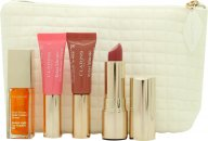 Clarins My Sparkling Lips Collection Set de Regalo 2 x 5ml instant Light Lip Perfector + 7ml Aceite Instant Light Lip Comfort + 3.5g Joli Rouge Barra de Labios + Bolsa