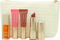 Clarins My Sparkling Lips Collection Set de Regalo 2 x 5ml instant Light Lip Perfector + 7ml Aceite Instant Light Lip Comfort + 3.5g Joli Rouge Barra de Labios + Bolsa
