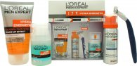 L'Oreal Men Expert Hydra Energetic Set de Regalo 50ml Fresh Extreme Desodorante Roll-On Ati-Transpirante + 50ml Charcoal Gel + 20ml Hidratante Anti-Fatiga + 50ml Espuma para Afeitado Anti-Irritación