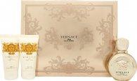 Versace Eros Pour Femme Set de Regalo 50ml EDP + 50ml Loción Corporal + 50ml Gel de Ducha