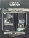 L'Oreal Paris Men Expert The Carbon Power Set de Regalo 300ml 5in1 Gel de Ducha + 150ml Vaporizador Anti-Transpirante