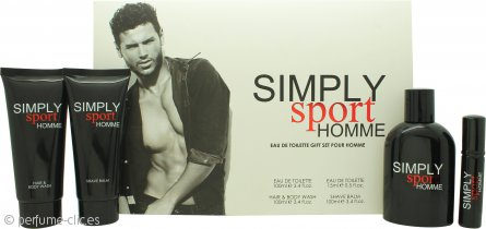 Simply Sport Homme Set de Regalo 100ml EDT + 100ml Bálsamo Aftershave + 100ml Gel de Pelo y Cuerpo + 15ml EDT