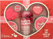 I Love... A Big Box Of Love Raspberry & Blackberry 500ml Burbujas Baño + 100ml Sugar Scrub + 100ml Crema Corporal + 10ml Bálsamo Labial + 60g Jabón + Esponja
