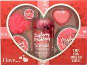 I Love... A Big Box Of Love Raspberry & Blackberry 500ml Burbujas Baño + 100ml Sugar Scrub + 100ml Crema Corporal + 10ml Bálsamo Labial + 60g Jabón + Esponja