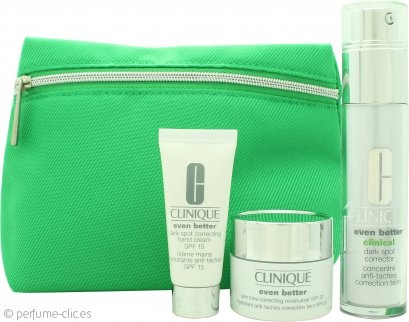 Clinique Even Better Set de Regalo 30ml Corrector Clínico Puntos Negros + 15ml Hidratante Corrector Tono Piel FPS 20 + 15ml Crema de Manos Correctora FPS 15 + Bolsa