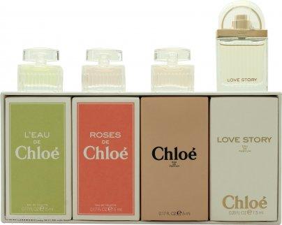 Chloé Miniatures Set de Regalo 5ml L'eau de Chloé EDT + 5ml Roses De Chloé EDT + 5ml Chloé EDP + 7.5ml Love Story EDP