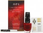 OPI Gwen Stefani Set de Regalo 15ml Esmalte de Uñas in Over & Over A-Gwen + 2g Pegamento Uñas + Adhesivos